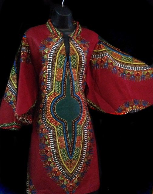 African Fabric Dashiki Print Dress in Maroon by luxorcouture, $95.00