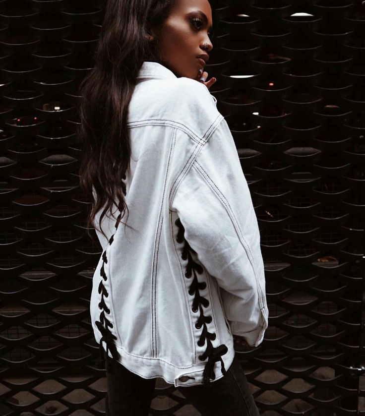 • White Denim Jacket With Lace Up Detail •