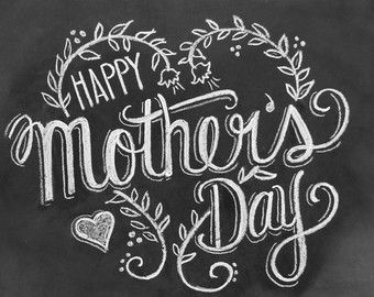 Mother's Day Card - Happy Mother's Day - Chalkboard Art - Blackboard Card - Hand Lettering- Chalk Art