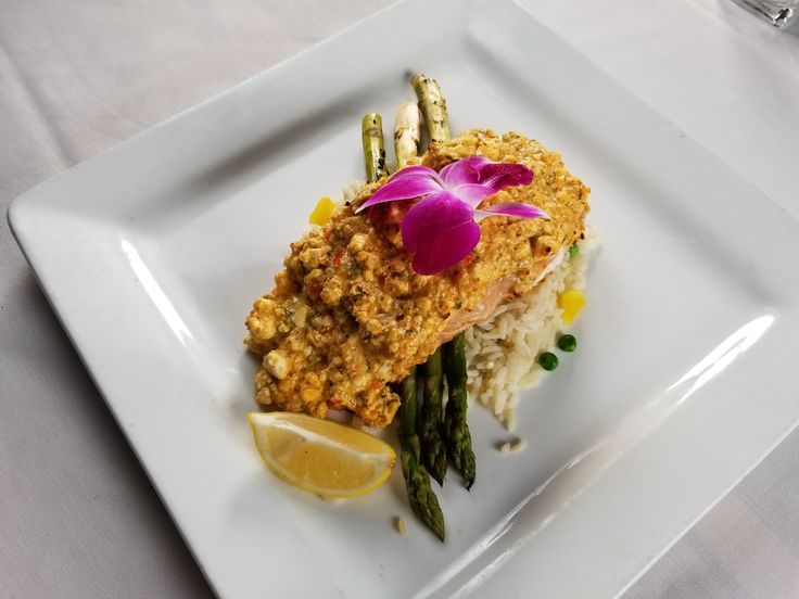 Spicy feta-crusted Salmon over rice and asparagus is healthy and delish! From Greek Joint Kitchen & Bar in Hollywood, FL. http://thegreekjoint.com/