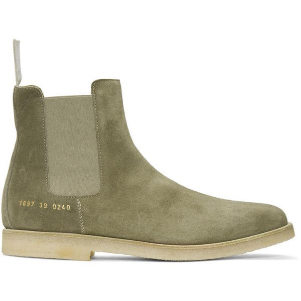Common Projects Taupe Suede Chelsea Boots ($625) ❤ liked on Polyvore featuring men's fashion, men's shoes, men's boots, taupe, mens suede chelsea boots, common projects men's shoes, mens suede boots and mens suede shoes