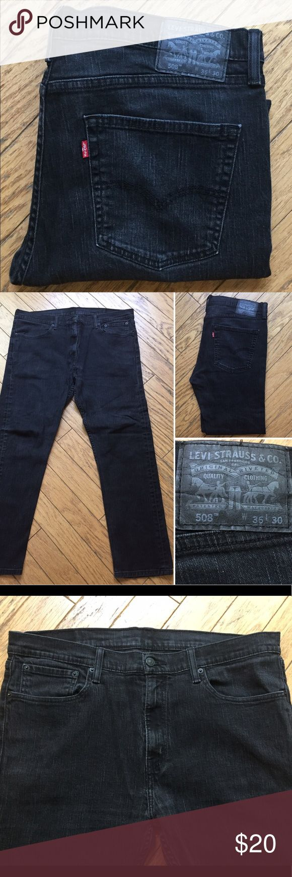 Levi's 508 Black Regular Taper Men's 36 Waist x 30 Men's regular taper fit - Levi's 508. Size 36 waist x 30 inseam/length. All black denim jeans, in excellent condition. JSYK - I discount all bundles ☺️ Prices are negotiable so make an offer if you're interested, thanks! Levi's Jeans Slim Straight
