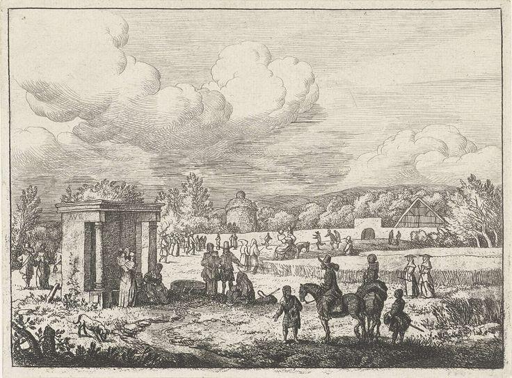 Allaert van Everdingen   Waterbron in een korenveld, Allaert van Everdingen, 1631 - 1675   Een landschap met een korenveld en verschillende personen in voet en te paard. Op de voorgrond twee ruiters en twee staande personen bij een stroompje afkomstig uit een waterbron.