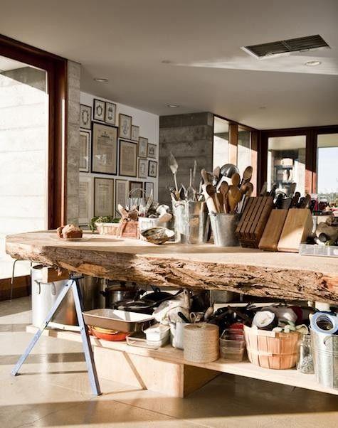 rustic, wooden counter top.
