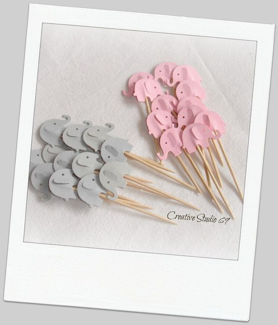 24 Grey and Light  Pink Elephants Party Picks ,Cupcake Toppers , Toothpicks , Food Picks, die cut on Etsy, $3.90
