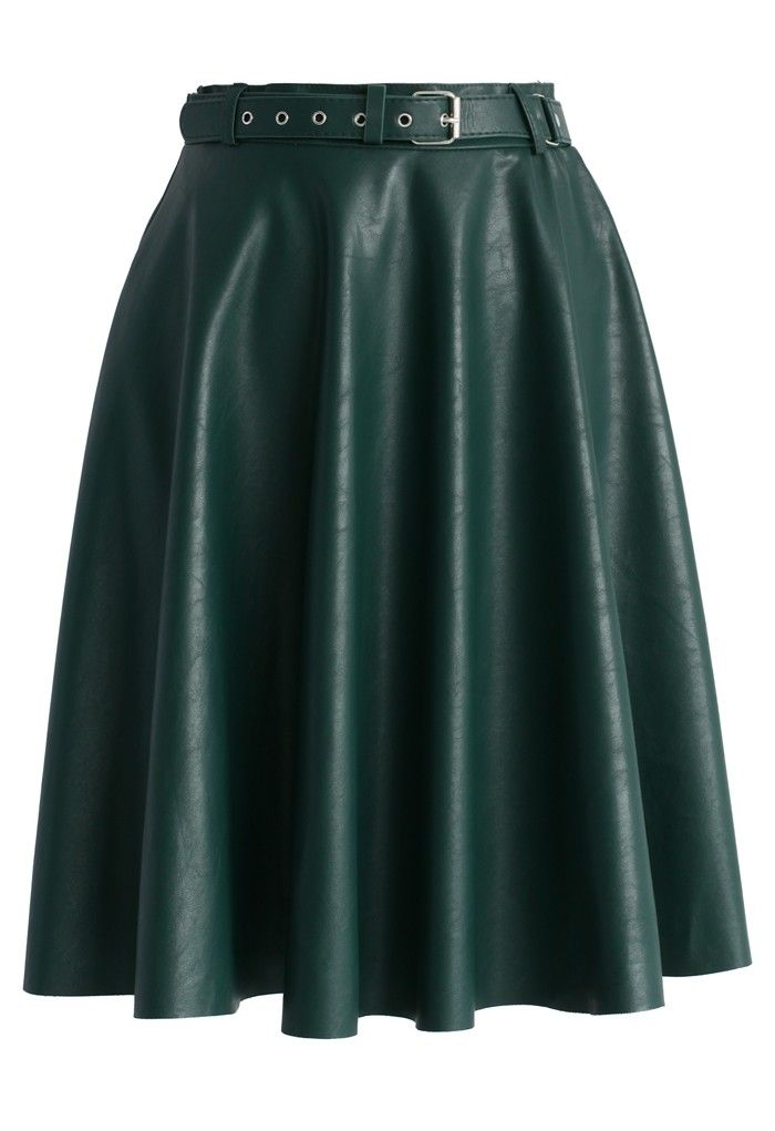 Faux Leather Belted Midi Skirt in Dark Green