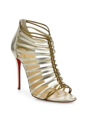 christian louboutin gold-tone metallic cage sandals