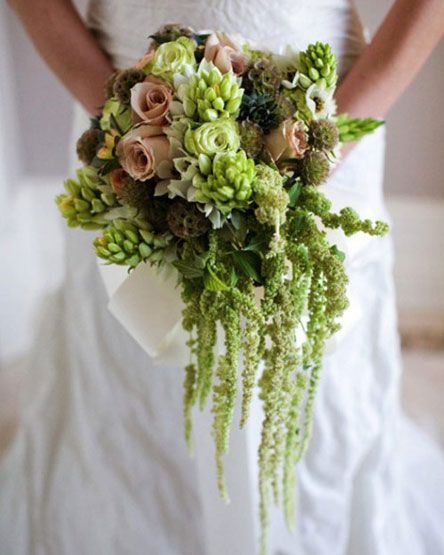 """Textural bouquet with hanging amaranthus... imagine more purples. This definitely has a """"fairy"""" feel to it."""