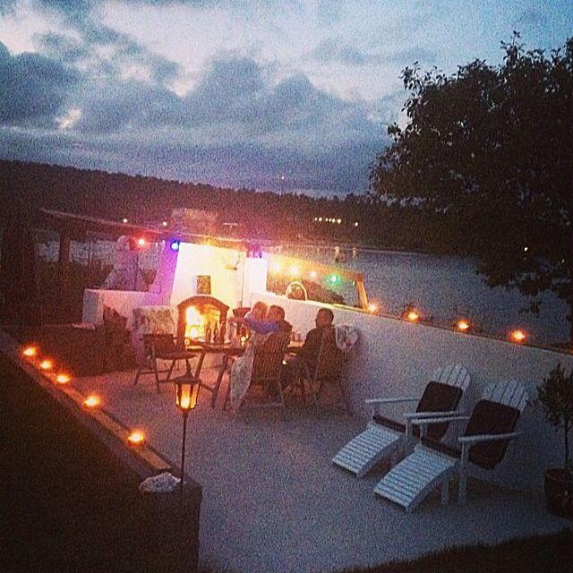 My parents house. Summerhouse Alnö Sweden. Light night . View beautiful