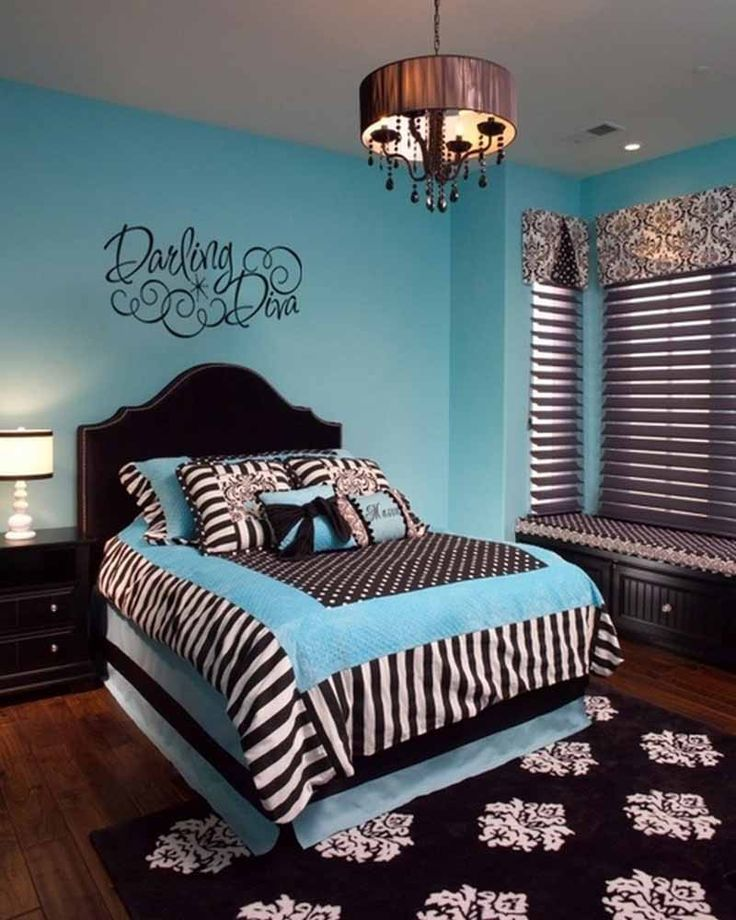 Entrancing Teen Girl Bedroom With Cozy Bed And Zebra Print Mixed Polka Dots Comforter Set And Black Headboard Also Antique Pendant Lamp And Blue Wall Paint Color And Nice Bay Window And Floral Rug