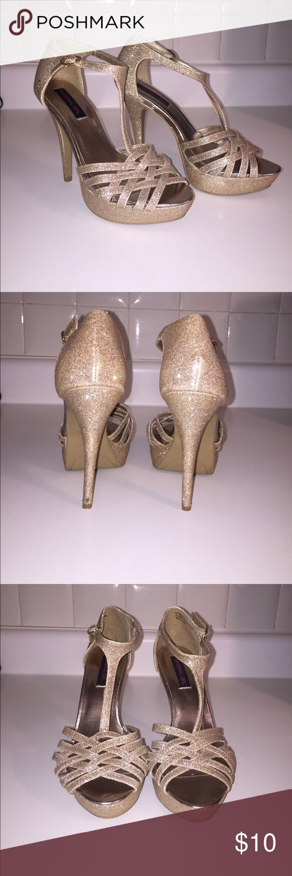 """Gold glitter heels Material Girl gold glitter heels with ~4.5"""" heel. In good condition. One stain spot that is featured above in pictures. Material Girl Shoes Heels"""