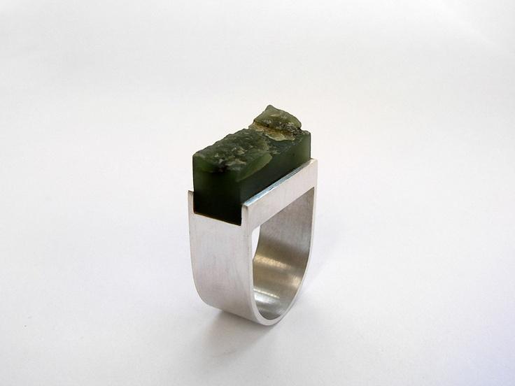 Andra Lupu - silver and greenstone ring