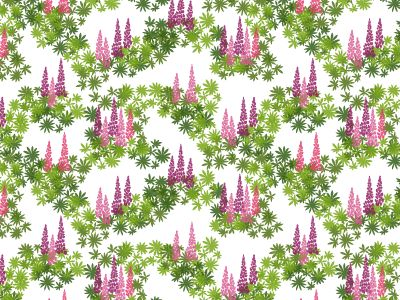 Margareta pattern with lupins in shades of pink inspired by the Swedish nature.  www.formstigen2a.se/pattern