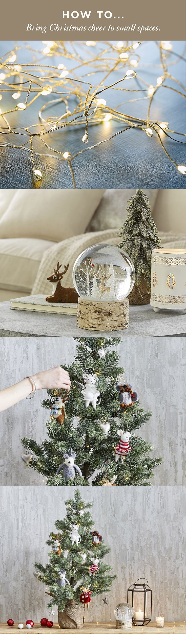 Can't fit a full-sized Christmas tree? Don't worry! Follow the link to find 5 nifty ways to decorate a small space for the Holidays. #christmas #christmasdecorating #bedbathntable