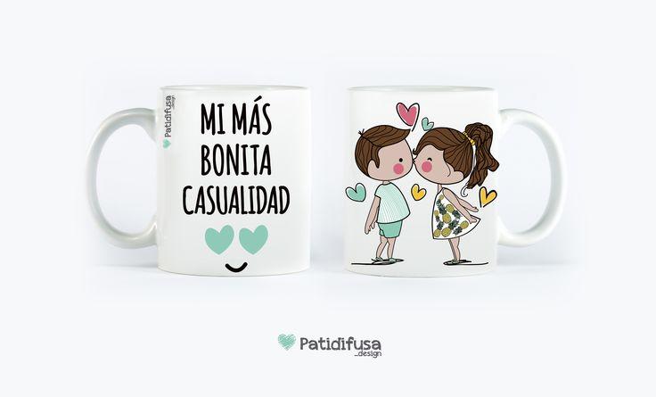 """Decirle a alguien """"eres mi más bonita casualidad"""" todos los días al desayunar con esta taza que puedes personalizar."""
