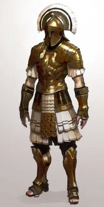 Greek Hoplite-inspired warrior. Note the muscular cuirass and intimidating helm crest. Bronze armor, sandals.