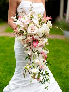 Pink white cascading bouquet