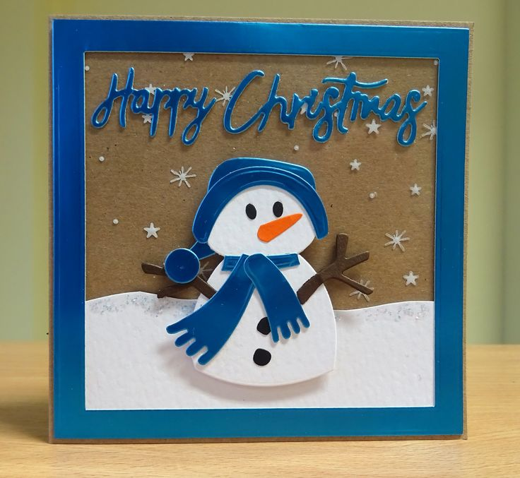 Christmas Card - Marianne Collectables Snowman Die. For more of my cards please visit CraftyCardStudio on Etsy.com.