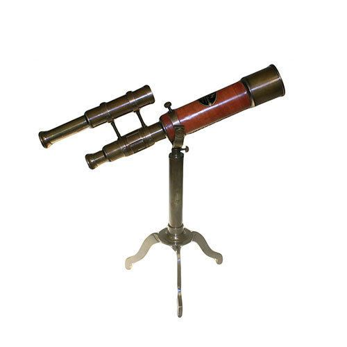 Decorative Telescope on Brass Stand with Sights Home Office Antique Decoration