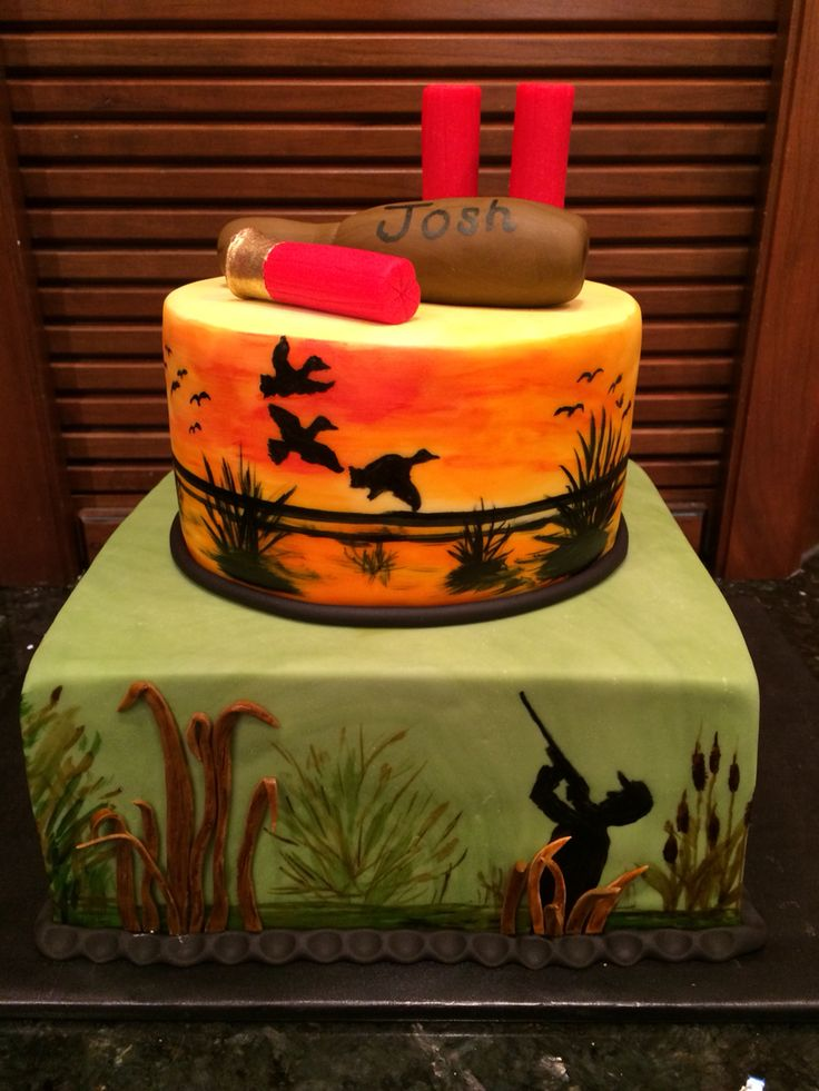Duck hunting cake. Painted on fondant.   Hunting birthday ...