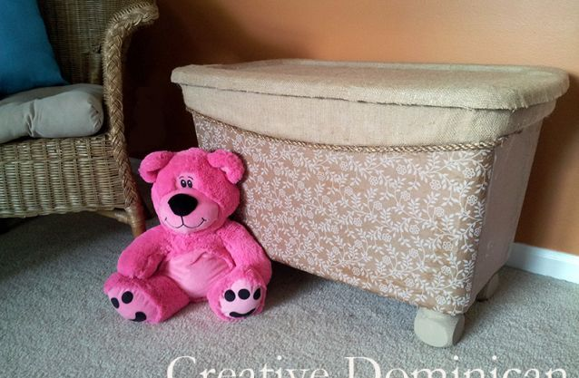 Bin to Toy Box Makeover...Love this idea!! Made from a large plastic storage container!!