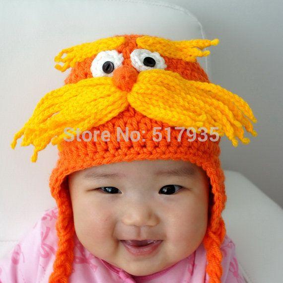 Крючком детских мультфильмов оранжевый лоракс шляпа с большой бородой, Ребенка шляпу шапочки, Новорожденных крючком опора 100% хлопок