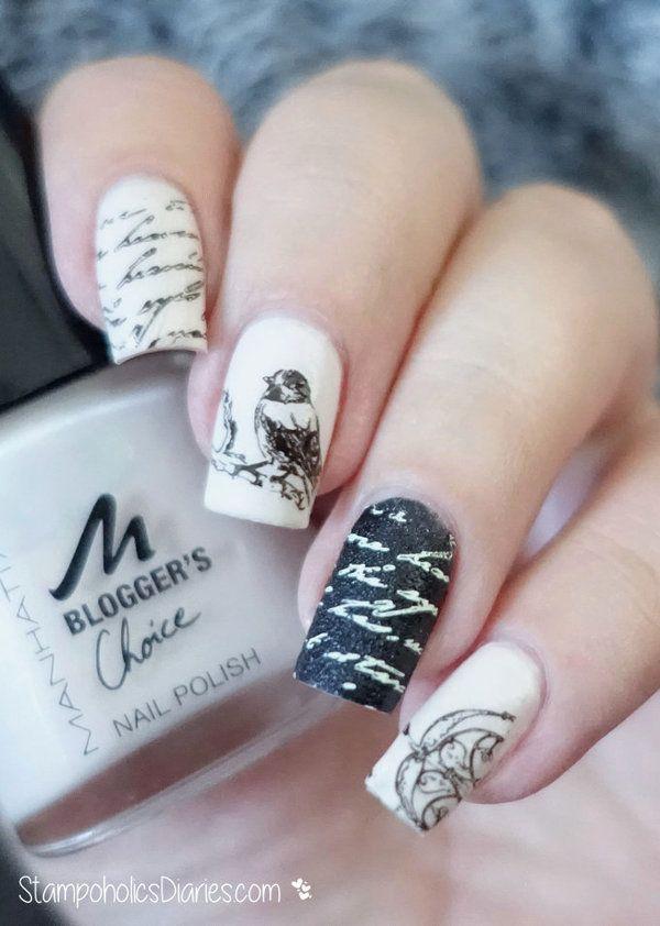 Vintage Nails via Beautylish  http://stampoholicsdiaries.com/2015/10/18/vintage-nails-with-manhattan-flormar-mundo-de-unas-and-moyra/