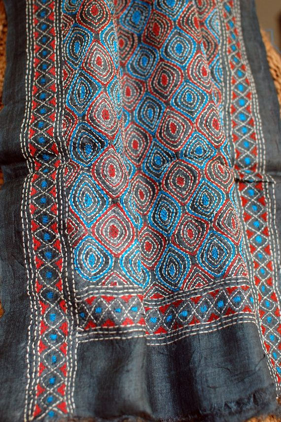 Kantha stole in modern hues