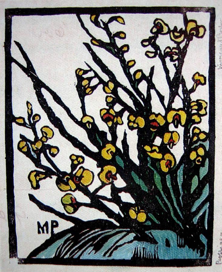 Bossiaea Hand coloured woodblock print, c. 1932, 25 x 20.5 cm by Margaret Rose (MacPherson) Preston (1875-1963) Australia
