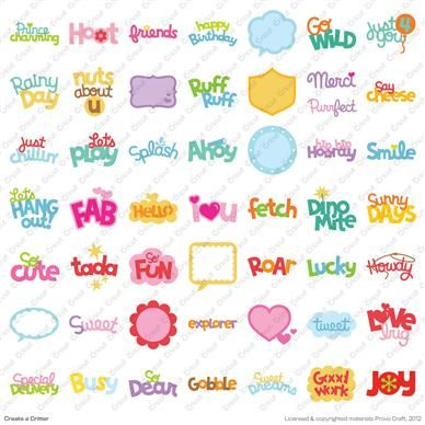 Cricut® Create a Critter Cartridge phrases