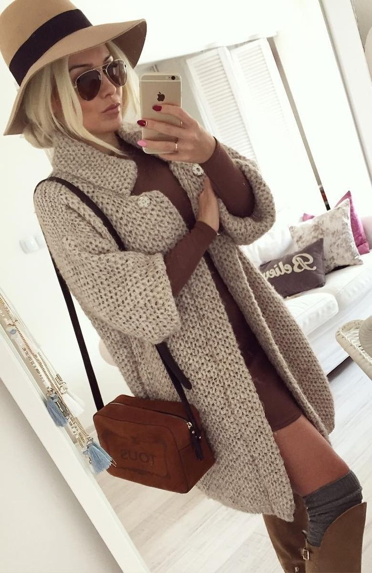 Grey Coat // Shoulder Bag // Camel Dress // Knee Length Boots                                                                             Source