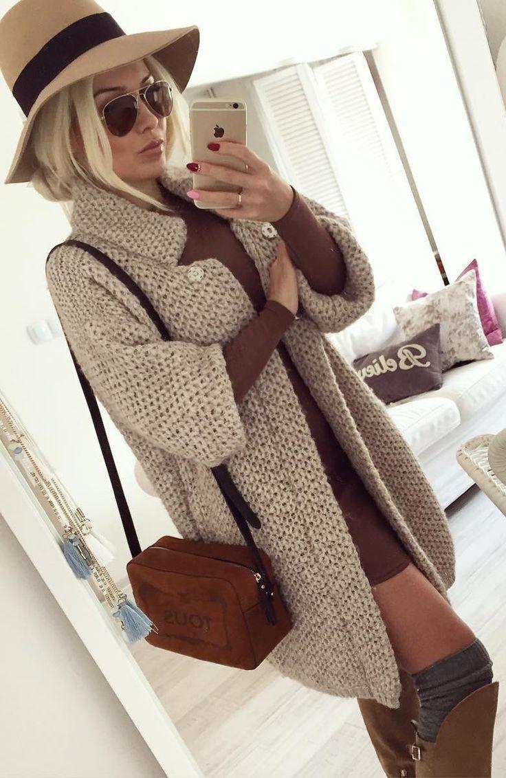 Grey Coat // Shoulder Bag // Camel Dress // Knee Length Boots                                                                             Source