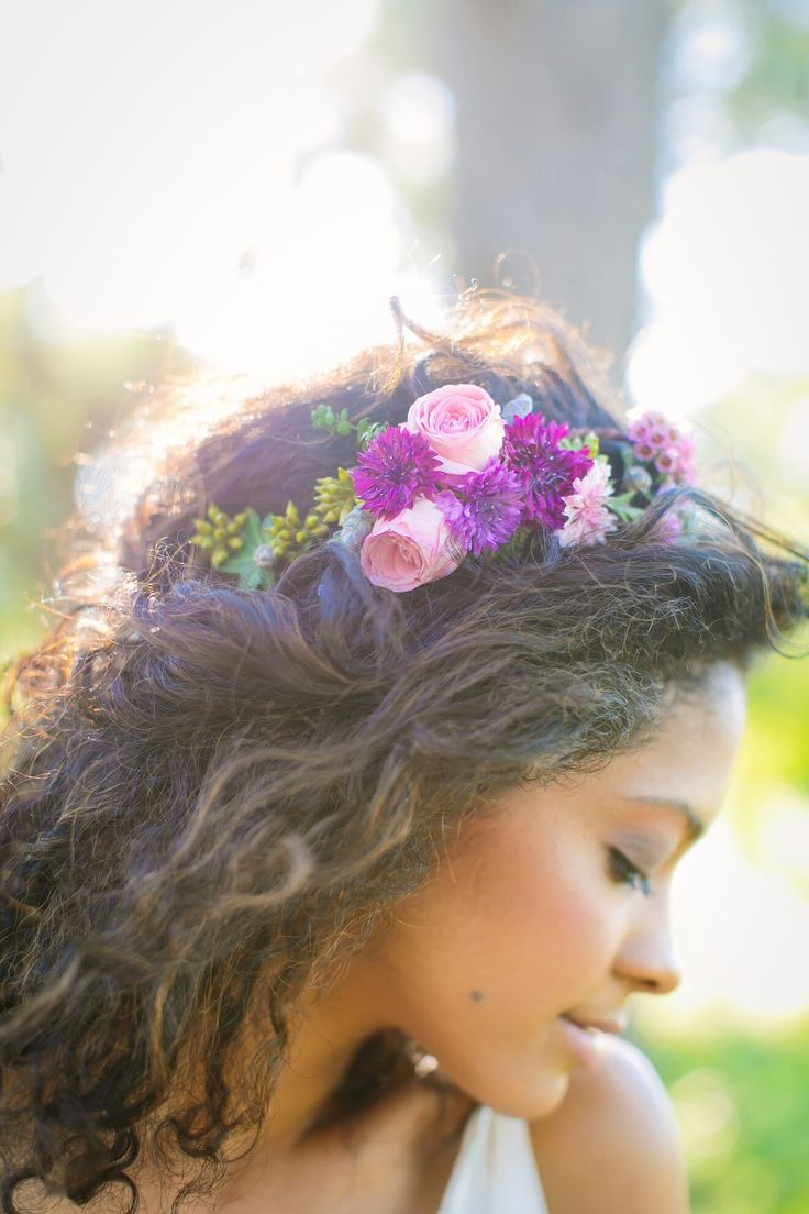Wedding Flower crown with purple astrantia, pink roses, and scabiosa pod by The Flower Girl. Photo by Al Gawlik Photography.
