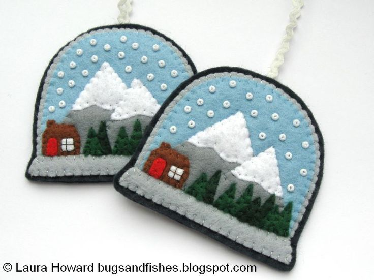 Felt+Snow+Globe+Ornaments+2.jpg (867×650) - Bugs and Fishes