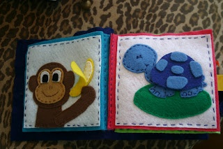 Monkey and turtle quiet book pages... I love the hand stitching outlining each page!