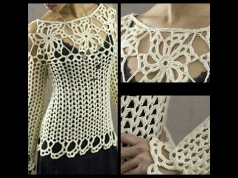 tutorial jersey sweater crochet facil para todas las tallas ( subititles...