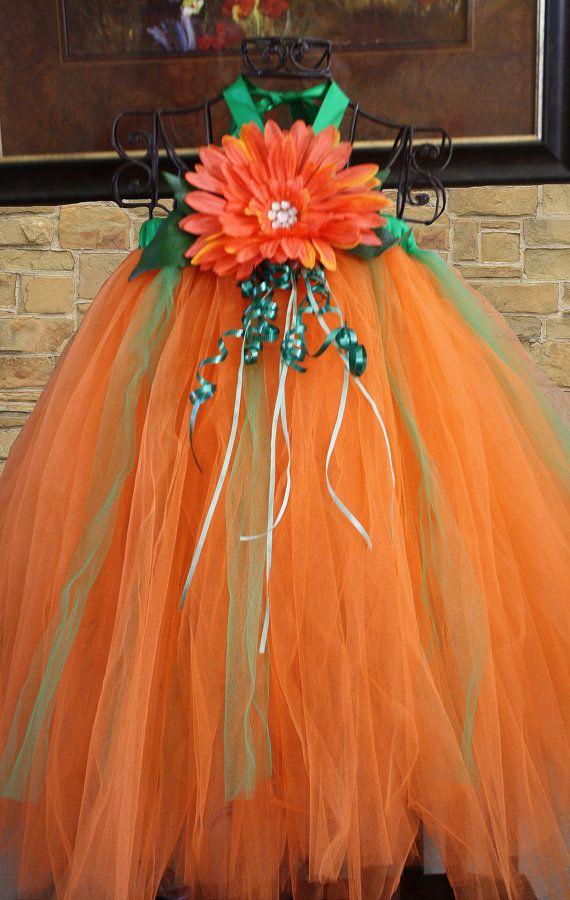 fallspring summer  Orange/ green tulle  tutu by cookiesandcostumes, $65.00