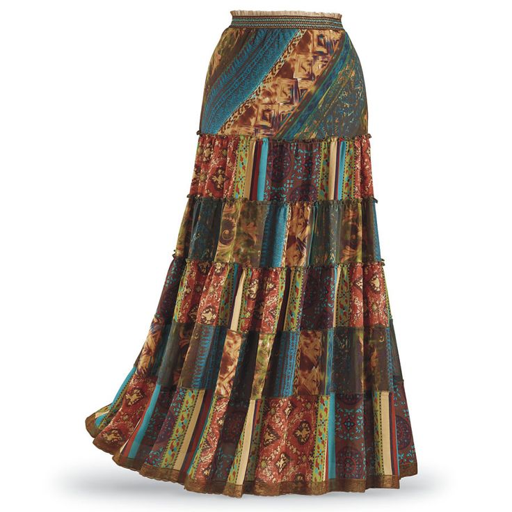 """Pyramid Collection Patchwork Maxi Skirt  ***********""""Patches. Love the Boho look? Six tiers of multicolor patchwork make this maxi a wardrobe favorite! Smocked, lace-trimmed/elasticized waist. Lined."""""""