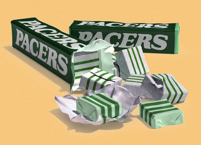 Pacers (1976) When Mars punted out a mint variant of their counter-conquering blocks of citrus paste, tolerant half-smiles were the order of the day, but a simple change of name took Opal Mints out from the shadows of their mouth-watering forebears. A sporty theme and the addition in 1980 of green go-faster stripes to the basic white slab more than made up for the disappointingly weak, almost homeopathic, minty tast