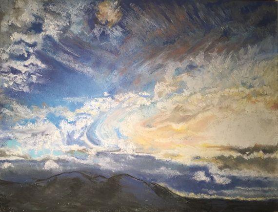 Summer Sunset Over Malvern Hills Fine Pastel Art by FinePastelKB