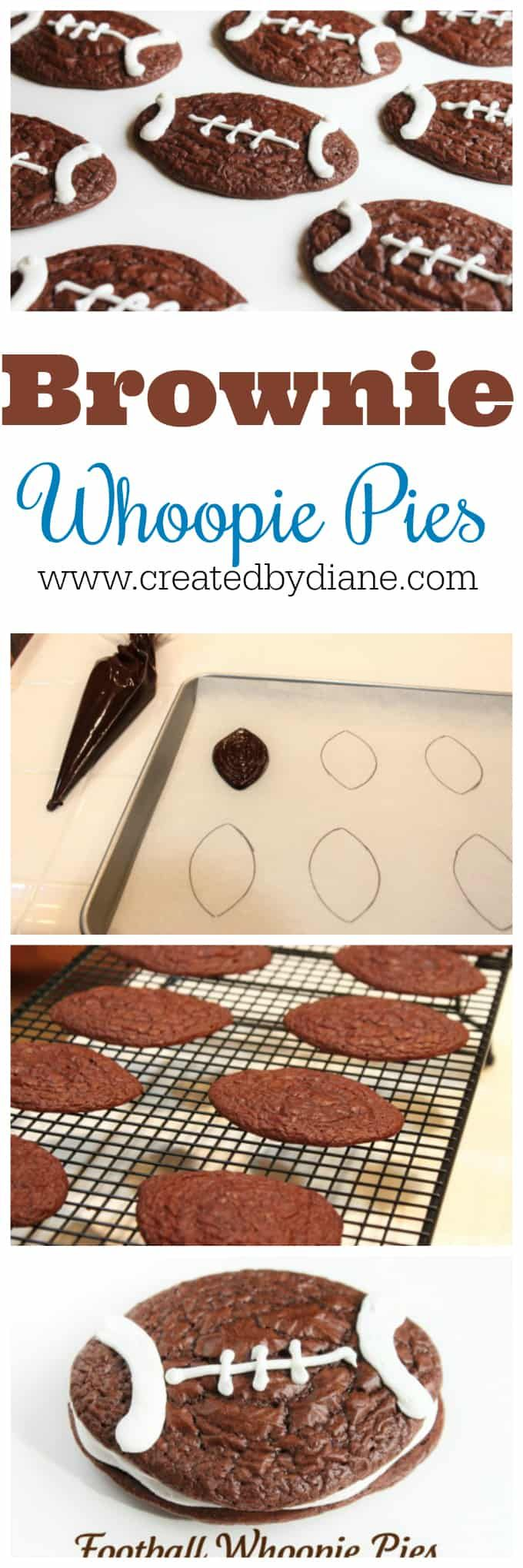 Brownie mix makes great whoopie pies. Football sha…Edit description