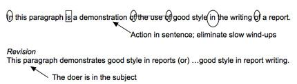 Original: In this paragraph is a demonstration of the use of good style in the writing of a report.  The action in the original sentence is ...