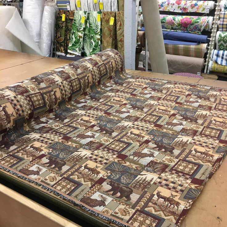 fabricwarehouse.com - PETERS CABIN Tapestry In DENIM | MOUNTAIN LODGE RUSTIC TAPESTRY FABRIC, $28.98 (http://fabricwarehouse.com/upholstery-fabrics/all-other-upholstery/peters-cabin-denim-mountain-lodge-rustic-tapestry-upholstery-fabric-by-the-yarde/)