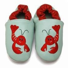 Red lobster shoes!  Love them paired with the red polka dot linen bib or pants.  Too cute!