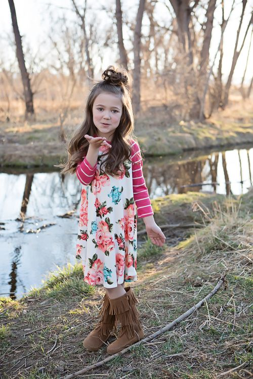 Floral Dress, Long Sleeve Dress, Striped Sleeves, Ryleigh Rue, Online Boutique, Online Shopping, Kids Boutique, Kids Clothing, Dress, Fashion