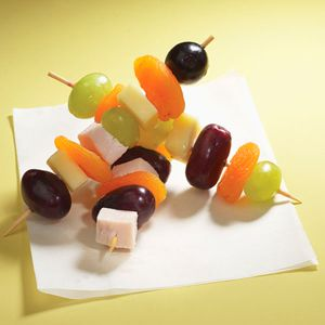 Quick fruit and cheese kebabs. Older kids can help make these in whatever combinations they like.