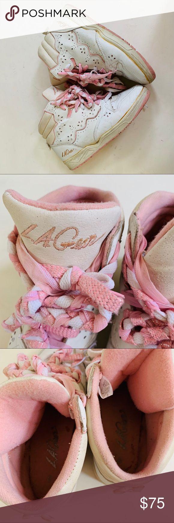 ?LA.GEAR VINTAGE RARE  80s pink white hi-tops 9 Very rare find ?   Vintage…