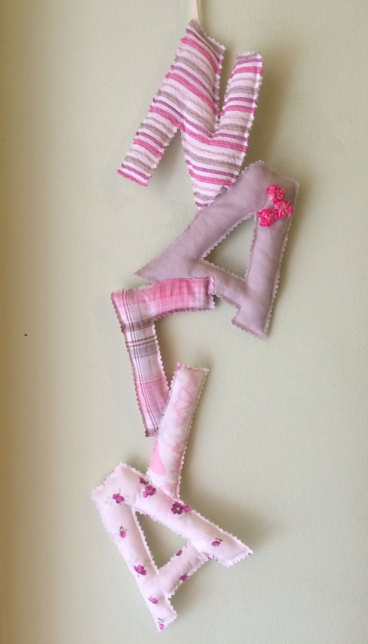 Vertical Fabric Greek letters (name Nagia) #fabricletters #alphabet #kidsstuff #kidsroomdeco #handmadefabricletters #almanogr