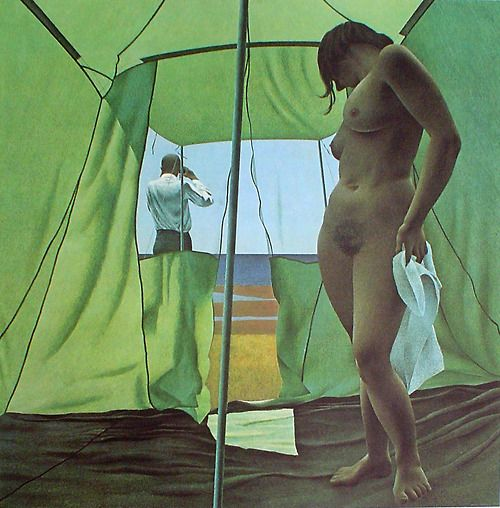 "azia: June Noon. 1963. Alex Colville ""I am inclined to think that people can only be close when there is some kind of separateness."""