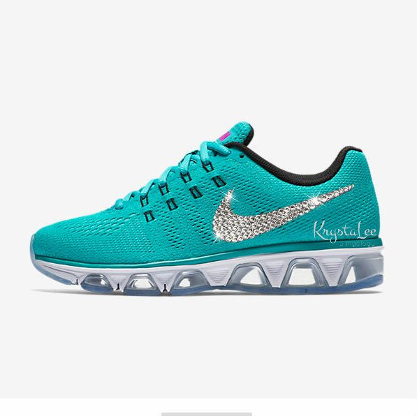 Womens Nike Air Max Tailwind 8 Turquoise Custom Bling Crystal Swarovski Sneakers, Running Shoes, Tennis Shoes, Nikes